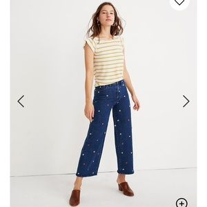 Madewell Confetti Embroidered Crop Wide Leg Jeans